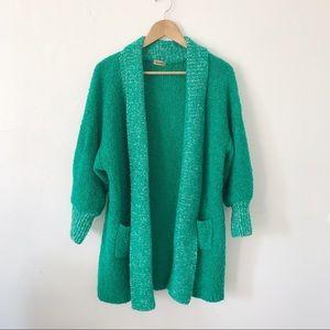 Vintage Green Oversized Cardigan
